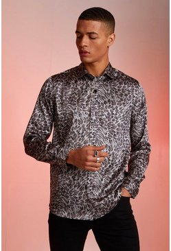 Mens Grey Long Sleeve Light Weight Satin Animal Print Shirt