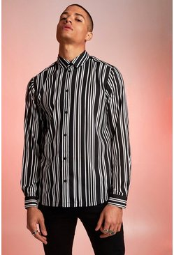 Mens Black Long Sleeve Monochrome Stripe Shirt
