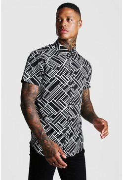Mens Black Abstract Collared Short Sleeve Shirt