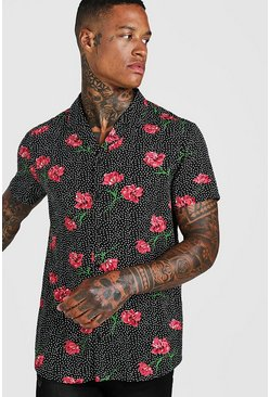 Mens Black Short Sleeve Polka Dot Floral Shirt