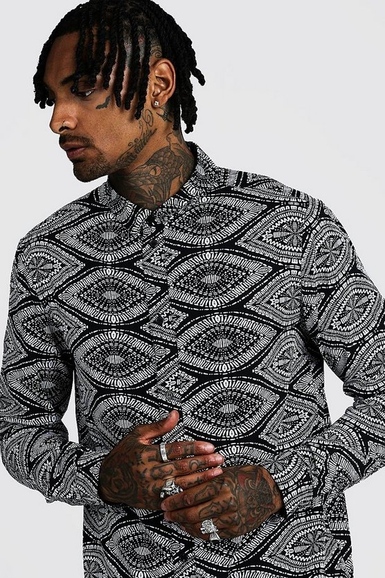 Mens Black Ikat Design Long Sleeve Printed Shirt