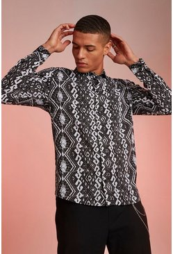 Mens Black Long Sleeve Stripe Aztec Shirt