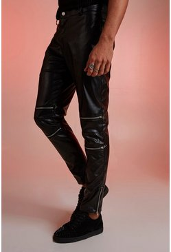 Mens Black PU Biker Zip Detail Trousers