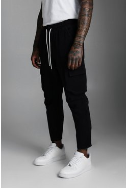 Black Multi Pocket Twill Cargo Pants