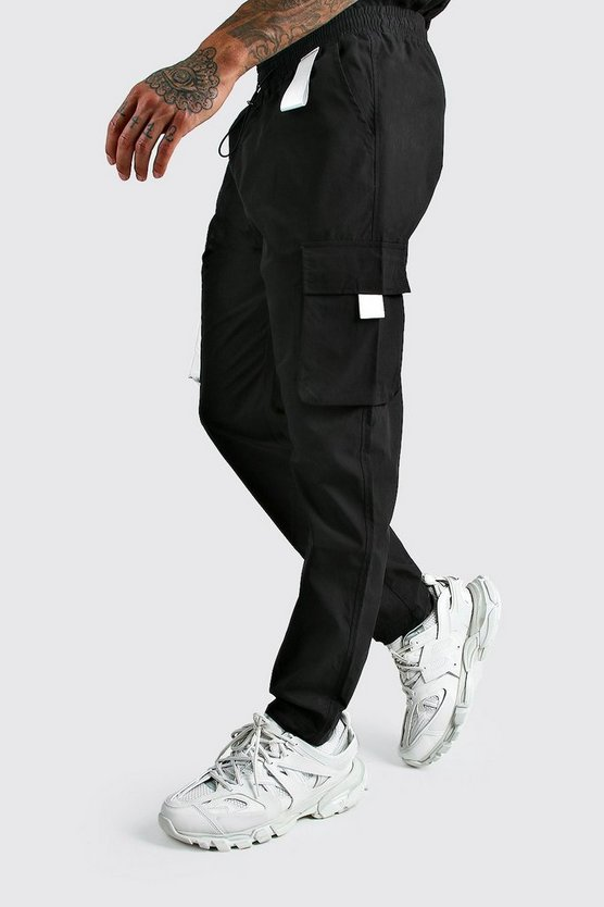 Mens Black MAN Cargo Vinyl Pocket Detail Trousers
