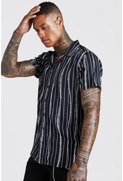 Mens Black Short Sleeve Revere Stripe Chain Print Shirt
