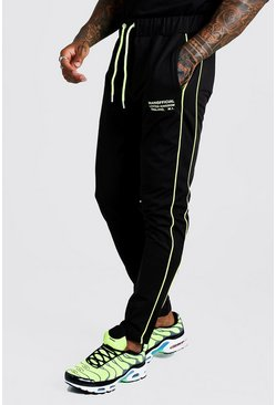 Mens Black Tricot MAN Print Jogger With Neon Piping