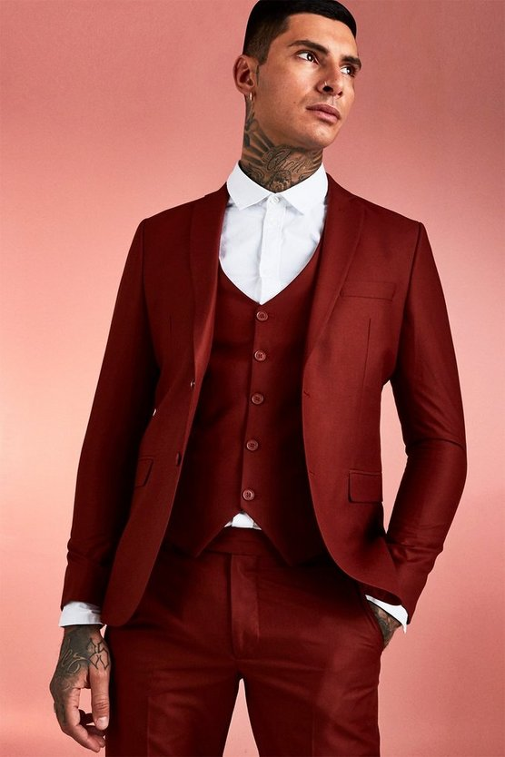 Mens Rust Plain Skinny Fit Suit Jacket