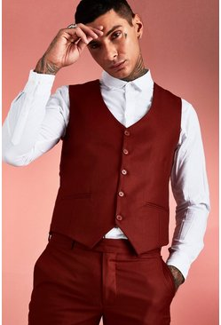 Rust Plain Skinny Fit Vest
