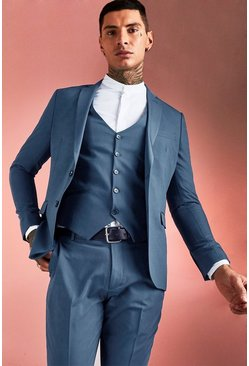 Petrol Plain Skinny Fit Suit Jacket