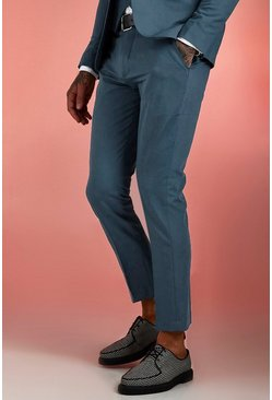 Mens Petrol Plain Skinny Fit Suit Trouser