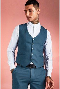 Petrol Plain Skinny Fit Waistcoat
