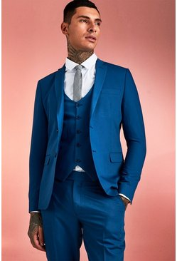 Mens Blue Plain Skinny Fit Suit Jacket