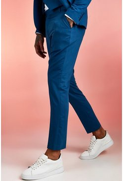 Mens Blue Plain Skinny Fit Suit Trouser