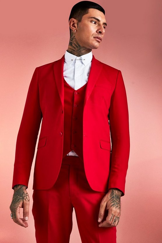 Mens Red Plain Skinny Fit Suit Jacket