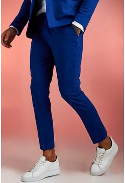 Cobalt Skinny Fit Plain Suit Pants
