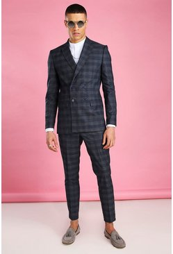 Navy Skinny Tonal Check Double Breasted Suit Jacket