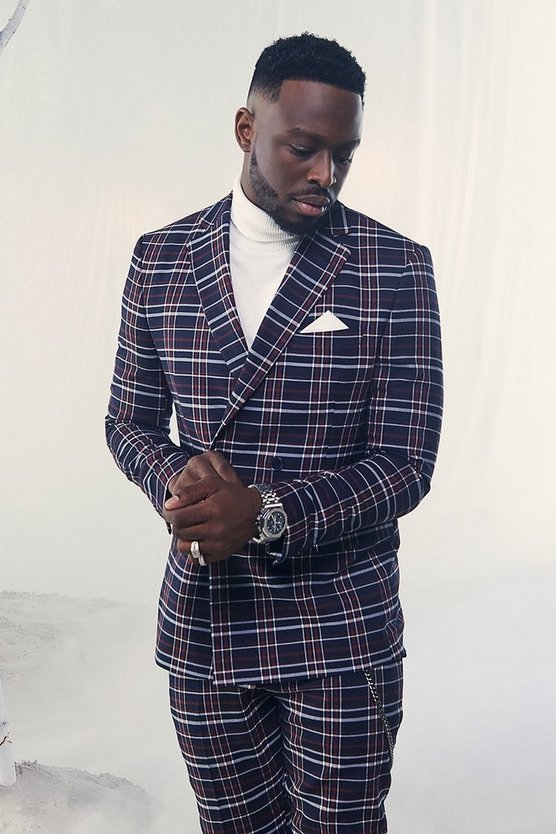 Tartan Double Breasted Skinny Fit Suit Jacket by Boohoo Man