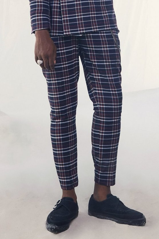 Mens Navy Tartan Skinny Fit Cropped Suit Trouser With Chain