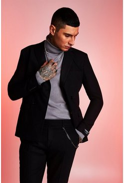 Mens Black MAN Official Double Breasted Skinny Fit Suit Jacket