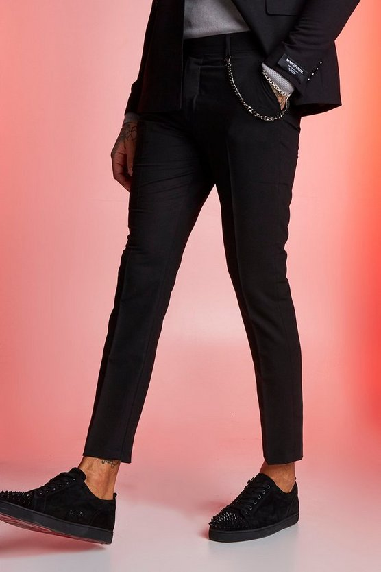Mens Black Plain Skinny Fit Suit Trouser With Chain