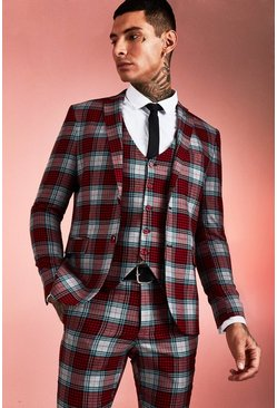 Mens Red Tartan Skinny Fit Suit Jacket