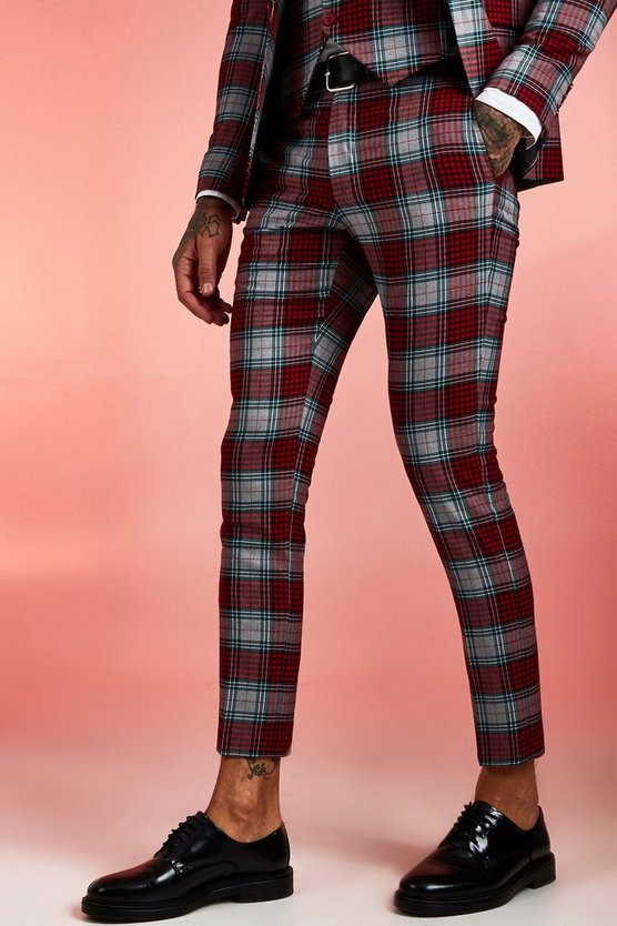 Mens Red Tartan Skinny Fit Cropped Suit Trouser With Turn Up