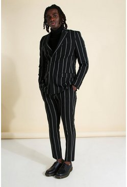 Mens Black Wide Set Stripe Skinny Fit Suit Trouser