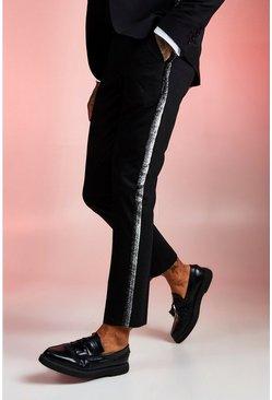 Black Plain Skinny Fit Tape Detail Suit Pants