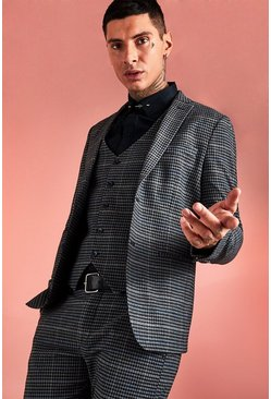 Black Jaspe Dogstooth Skinny Suit Jacket