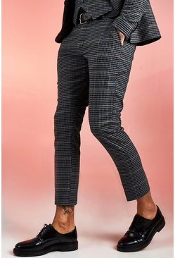 Mens Black Jaspe Dogstooth Skinny Fit Cropped Suit Trouser