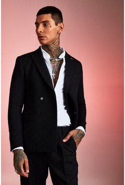 Mens Navy Jacquard Double Breasted Skinny Fit Suit Jacket