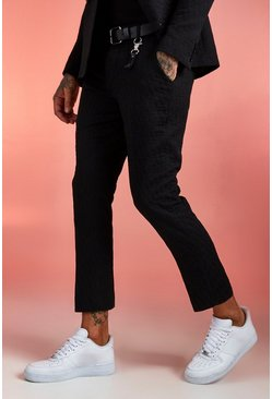Black Jacquard Skinny Fit Cropped Suit Trouser