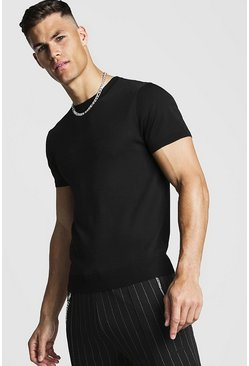 Mens Black Fine Knit T-Shirt