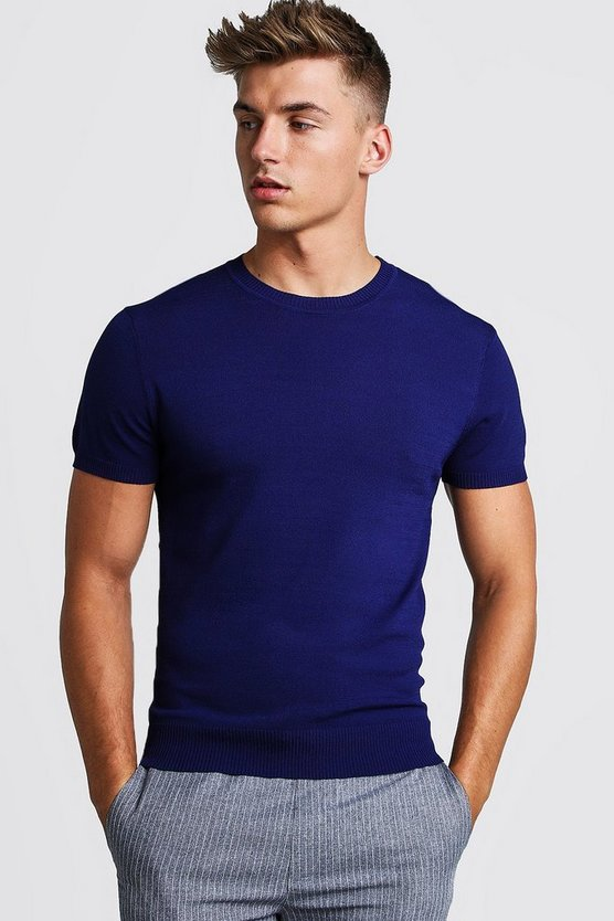 Mens Navy Fine Knit T-Shirt
