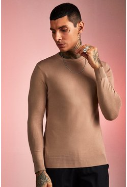 Mens Taupe Fine Knit Jumper