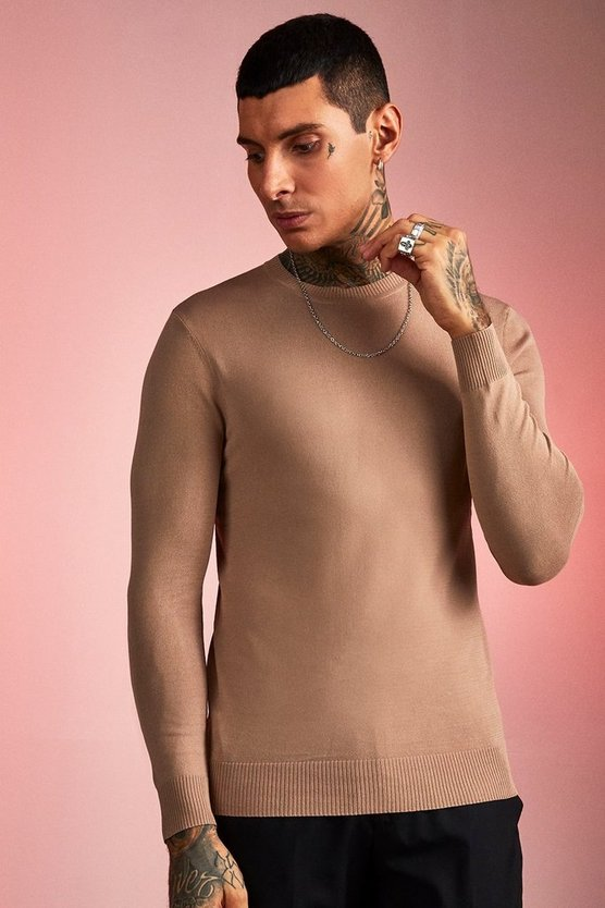 Pull en maille col montant en nylon, Taupe, Homme