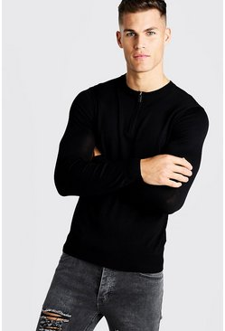 Mens Black Fine Knit Jumper With Zip