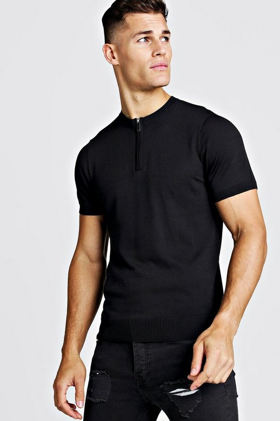 Mens Black Fine Knit Tee With Zip