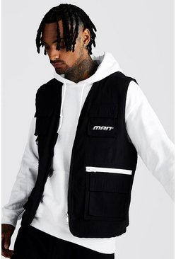 Mens Black MAN Utility Vest With Multi Pockets