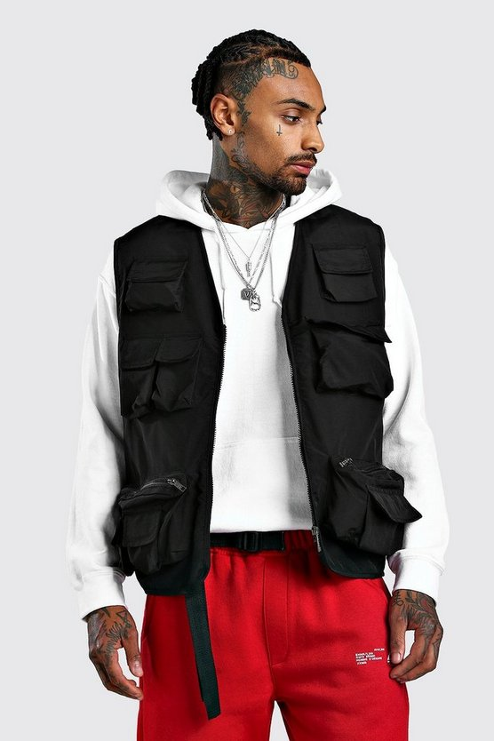 Multi Pocket Utiity Vest With Mesh Lining by Boohoo Man