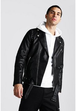 Black Faux Leather Biker Jacket With Studs