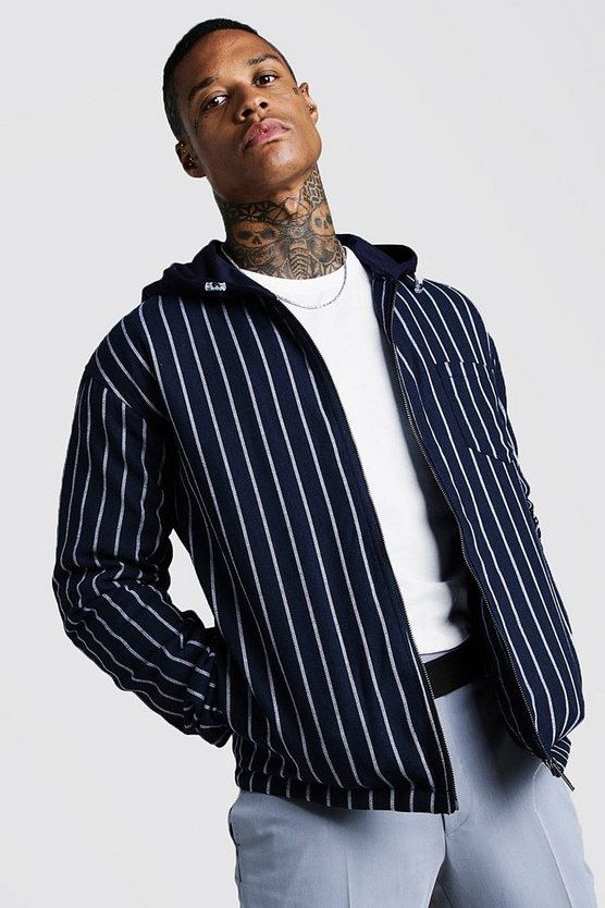 Mens Navy Stripe Bomber Jacket With Hood