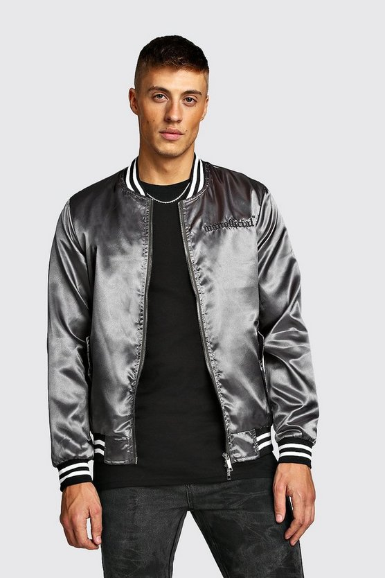 Mens Charcoal MAN Embroidered Satin Bomber