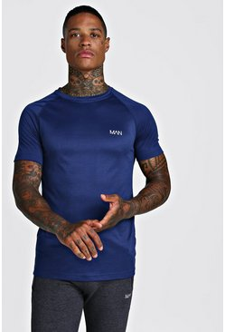 Mens Navy MAN Active Raglan Dri-Fit T-Shirt