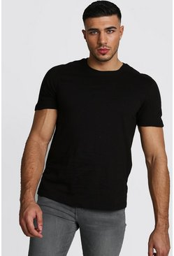 Mens Black MAN Step Hem Biker Detail T-Shirt