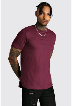 Wine MAN Step Hem Biker Detail T-Shirt