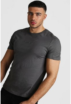 Mens Slate MAN Step Hem Biker Detail T-Shirt