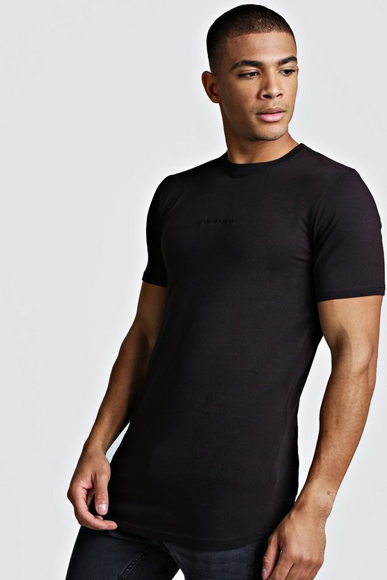 Black MAN Muscle Fit Biker Longline T-Shirt
