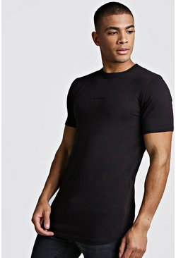 Mens Black MAN Muscle Fit Biker Longline T-Shirt